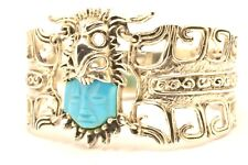 """Taxco Mexican 925 Sterling Silver Aztec Mayan Turquoise Bracelet, 63 g, 6.2"""""""