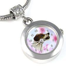 Jack Russell Terrier Silver Quartz Watch European Charm Bead For Bracelet EBA64