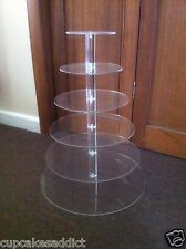 6 TIER CLEAR ACRYLIC  ROUND CUPCAKE CUP CAKES STAND DISPLAY WEDDING PARTY