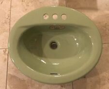 "Vintage Eljer Cast Iron 4"" Center Oval Lavatory Sink in ""Fresh Green""-Nos"