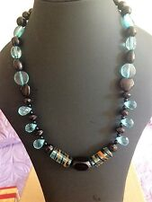 Black Blue Chunky Necklace, Brown, Stripe, Turquoise, Glass - Only 1 available