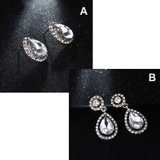 Women's Trendy Crystal Pear Shape Water Drop Dangle Stud Earrings Jewellery UK