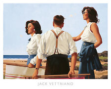 Young Hearts by Jack Vettriano Art Print Poster Romance Beach Ocean 19.75x18