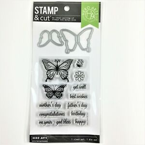 Hero Arts Stamp & Cut Butterfly Pair Clear Stamp Die Set Birthday Mother's Day