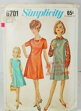 Simplicity 6701 Sewing Pattern 1960s Retro Pleated Dress Jumper Plus Size 20.5