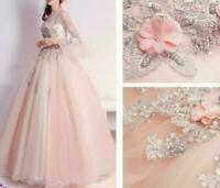 Elegent Women's Flower Quinceanera Dress Embroidery Lace Wedding Princess Dress