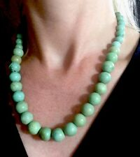 OLD 14k gold  Chinese turquoise round beads  strung on wire necklace