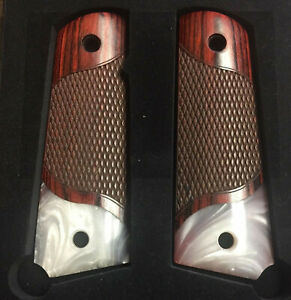 1911 CLASSIC Checkered Rosewood Grips w/Acrylic Pearl Accent Bottom NEW '21~