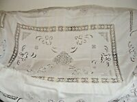 """VINTAGE EMBROIDERED CUTWORK CROCHETED LACE TABLECLOTH LINEN 90"""" X 82"""" ECRU"""