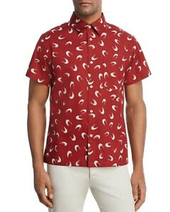 NEW A.P.C. RED CRESCENT MOON CHEMISETTE CIPPI SHORT SLEEVE BUTTON SHIRT sz S