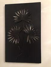 Contemporary Metal Wall Art Decor Sculpture Flower Brown Leaf Panel 50x30 Cms