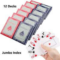 12pc Poker Size Jumbo Index Playing Cards for Canasta Cards Games 6 Red & 6 Blue