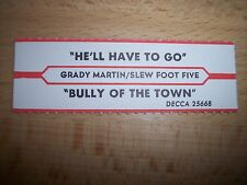 """1 Grady Martin He'll Have To Go Jukebox Title Strips Cd 7"""" 45Rpm Records"""