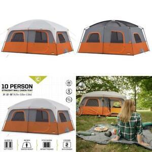 CORE 10 Person Straight Wall Cabin Tent Orange