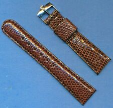 Rolex Steel Buckle & New 19mm Brown Genuine Lizard MB Strap Tang Leather Lined