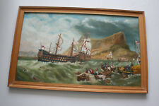 Original Seascape Nautical Ship Oil Painting on Board - Wooden Framed
