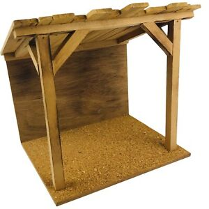 """Handmade Wooden Christmas Creche Nativity Manger Stable 10"""" Wide with Slat Roof"""