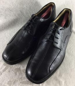 Johnston Murphy Mens Shuler Bicycle Toe Dress Shoes Black Leather 20-7222 Sz 11W