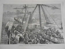 Gravure 1875 - Naufrage du Deutschland Sauveatge par le remoqueur Le Liverpool