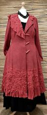 ZUZA BART*BEAUTIFUL HAND MADE PURE KNIT LINEN LONG COAT WITH LINING**RED**Size L