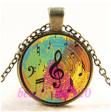 Vintage Colorful Music Notes Cabochon  Glass Bronze Chain Pendant Necklace#CD70