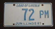 "ILLINOIS LOW NUMBER  LICENSE PLATE "" 72 PM ""  TV  1987   ILL 87   IL"