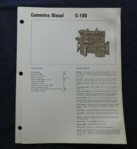 "1966 GENUINE CUMMINS ""C-180 DIESEL ENGINE"" SPECIFICATION BROCHURE"