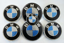 BMW KIT x7 Carbon Blau 82+82mm Motorhaube Kofferaum Felgendeckel Lenkrademblem