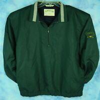 Vintage Orvis Men's L Windbreaker Pullover Jacket Green 1/4 Zip Embroidered Logo