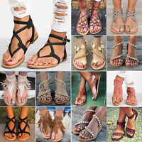 Women's Gladiator Flat Sandal Ladies Summer Beach T-strap Thong Flip Flops Shoes