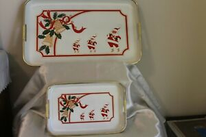 Vintage Japan Lacquerware Christmas Trays Large & Small Set 1960s Santa Holly