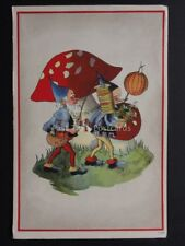 Two Gnomes with Lanterns and Toad stools c1947 - Old Postcard by FRECO No.590/2