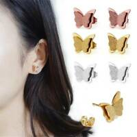 1 Pair Elegant Woman Girls Stainless Steel Butterfly Ear Stud Drop Earrings Gift