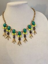 J.Crew CRYSTAL CLUSTERS CHAIN NECKLACE Green & Yellow