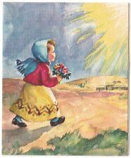 Vintage Greeting Card Christmas Little Girl Walking Watercolor Artist SignedL38