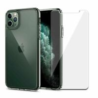 For iPhone 11 Pro Max XS Max X 8 7 Clear Case Cover With Glass Screen Protector