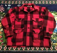Vintage Woolrich Mackinaw Jacket Mens Large Red Buffalo Plaid Wool Coat Outdoor