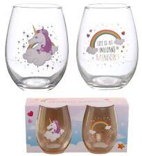 NOVELTY SET OF 2 ENCHANTED UNICORN RAINBOW DRINKING GLASS TUMBLERS