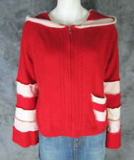 Upcycled 100% Cashmere Red Ivory Pink Zip Hooded Cardigan Sweater sz M/L