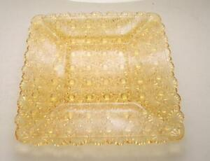 """EAPG LG Wright Amber Daisy and Button Square Salad Plate 7 1/8"""""""