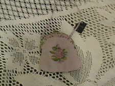 VINTAGE STYLE ACCESSORIZE LILAC TAPESTRY EMBROIDERY SILK SMALL BAG NWT