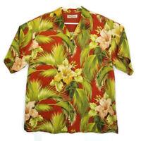 Tommy Bahama Mens Size XL Silk Red Floral Hawaiian Button Up Short Sleeve Shirt