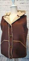 RALPH LAUREN R L Brown Faux Suede Sherpa Lined Vest  Hooded NEW Size Medium
