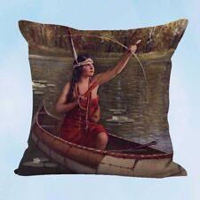 US Seller- Indian Maidens Canoe Bow Arrow R.Atkinson Fox cushion cover cheap