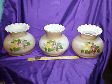 1 OIL LAMP OR FLOOR TENSION LIGHT POLE SHADES HAND PAINTED W/ ROSES.RUFFLE TOP
