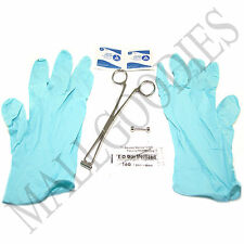 W120 Septum 16G Piercing Kit Clamp Needle Gloves Alcohol Wipes 7pc Set Barbell