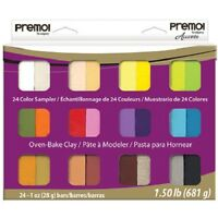 PREMO Sculpey Accents 24 bar Polymer Clay SAMPLER PACK Pearls Metallics Basics