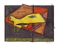 CUBISME F. Paneque PEINTURE DESSIN ORIGINAL CHARON NOCHER /papier Expressionisme