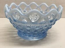 Blue With Opalescent Edge Button And Cane With Lace Edge Candy/Nut Bowl