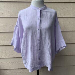 Eileen Fisher Mandarin Collar Shirt Women Short Sleeve Casual Lavender Top XL